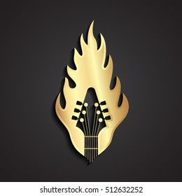 3d gold guitar in flame logo