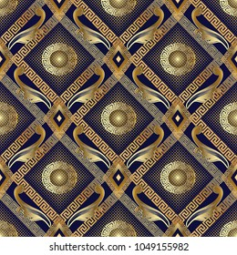 3d gold halftone floral seamless pattern. Vector abstract geometric dotted rhombus background. Golden meander frames, dots, circle greek mandalas, baroque flowers, leaves. Vintage textured ornaments.