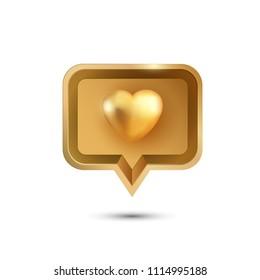 3d Gold heart icon. Vector illustration.