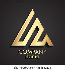3d gold linear shape triangle logo
