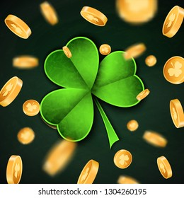 3d Gold lucky coins and Saint Patrick Day traditional symbol. Shamrock three leaf clover-modern trendy flyer