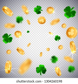 3D Gold lucky coins with Saint Patrick Day traditional symbol. Shamrock three leaf clovers-modern trendy flyer.