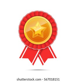 3D Gold medal with star and red ribbon. Winner award icon. Best choice badge. Vector illustration