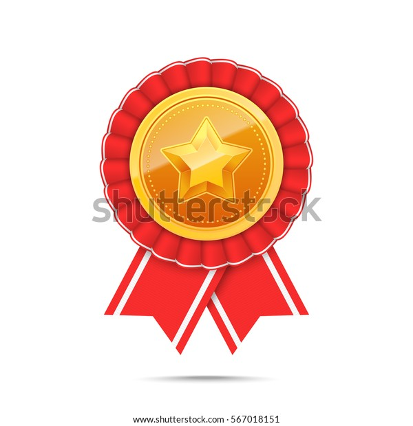 3d Gold Medal Star Red Ribbon Stock Vector (Royalty Free