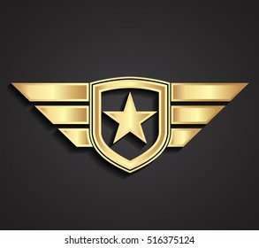 3d gold military star and shield with wings