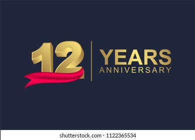3d gold number of happy 12 years anniversary with elegant red ribbon