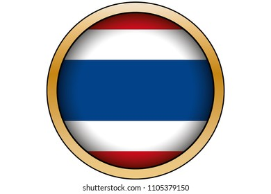 A 3D Gold Round Button with the Flag of Thailand