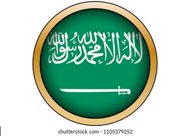 A 3D Gold Round Button with the Flag of Saudi Arabia