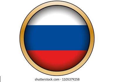 A 3D Gold Round Button with the Flag of Russia