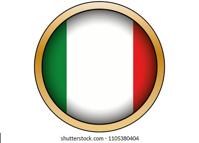 A 3D Gold Round Button with the Flag of Italy