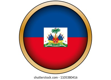 A 3D Gold Round Button with the Flag of Haiti