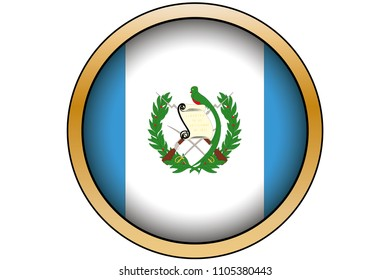 A 3D Gold Round Button with the Flag of Guatemala