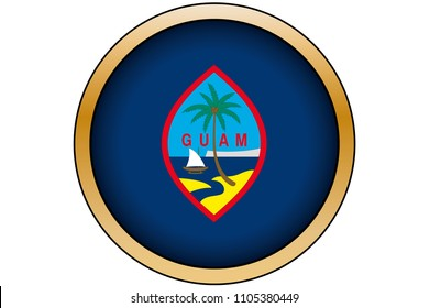 A 3D Gold Round Button with the Flag of Guam