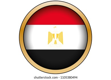 A 3D Gold Round Button with the Flag of Egypt