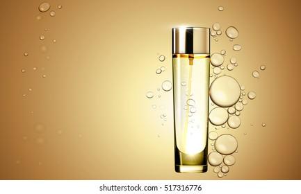 3D Gold serum  essence oil bottle on bubble liquid effect background. Premium skincare treatment ad concept template. Vector gold water oil bubbles illustration