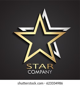 3d gold silver double star modern logo