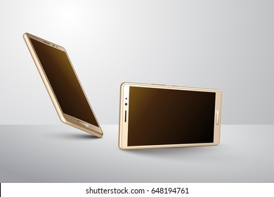 3D Gold Smart Phone with different angle.
