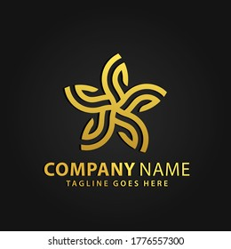 3D Gold Star Leaf Abstract Company Modern Logos Design Vector Illustration Template