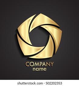 3d gold swirl logo / shutter stile shape