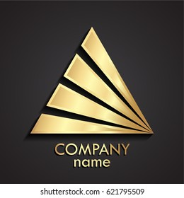 3d gold triangle abstract logo