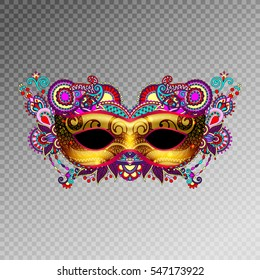 3d gold venetian carnival mask silhouette with ornamental feather isolated on transparence background, vector illustration eps 10