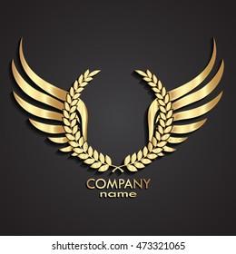 3d gold winged laurel wreath logo