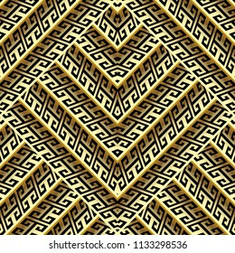 3d gold zigzag greek vector seamless pattern. Abstrat geometric modern background. Striped tiled zig zag ornament. Geometry shapes, stripes, lines. Ornate decor elements with shadows and highlights.