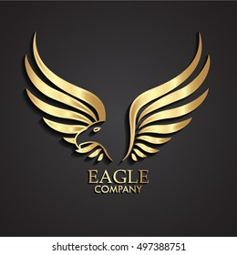 3d golden abstract winged eagle logo