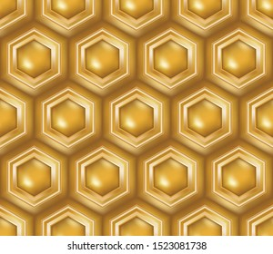 3D golden bright honeycomb seamless pattern tile with luxury elegant design for backgrounds, wallpapers, walls, interior design, creative surfaces, textile and fabric. rich seamless design.