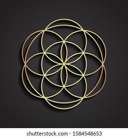 3d golden circle mandala shape symbol design