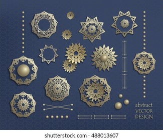 3d golden circular ornaments in oriental style. Set of gold mandalas, icons, emblems, logos, symbols. Vintage elements for design. Big bundle vector elements isolated on dark blue background.