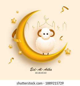 3D Golden Crescent Moon with Cartoon Sheep, Line Art Mosque and Stars Decorated on Peach Yellow Background for Eid-Al-Adha Mubarak.