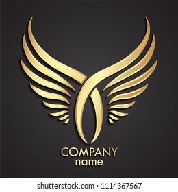 3d golden crossed double wings logo