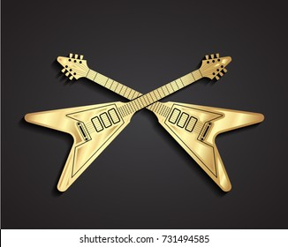 3d golden crossed electric guitars symbol