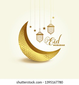 3d golden eid festival moon and lamp decoration background