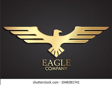 3d golden elegant stylized eagle logo design