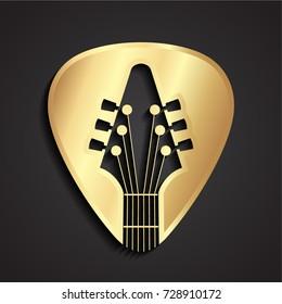 3d golden guitar stick logo