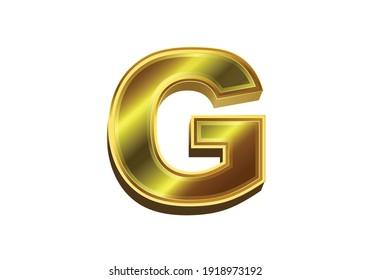 3d golden letter G. Luxury gold alphabet on white background