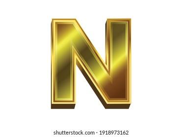 3d golden letter N. Luxury gold alphabet on white background