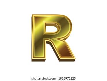 3d golden letter R. Luxury gold alphabet on white background