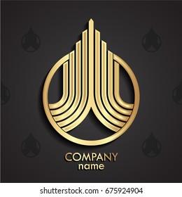 3d golden linear growth logo