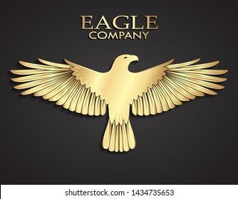 3d golden metal elegant eagle logo design