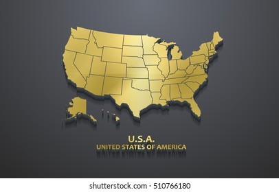 3D Golden Metallic United States Map