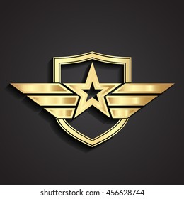 3d golden military star symbol with shield / vector illustration