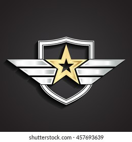 3d golden military star symbol with silver shield and wings / vector illustration