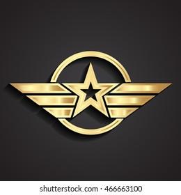 3d golden military star symbol wings / logo