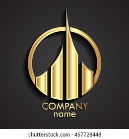 3d golden modern logo template / vector illustration