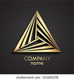 3d golden modern shape triangle logo