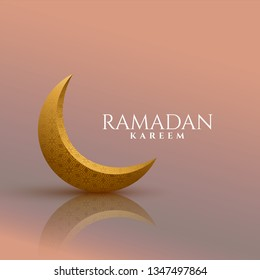 3d golden moon ramadan kareem background