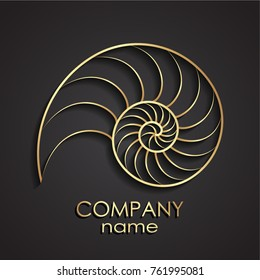 3d golden nautilus shell spiral shape logo